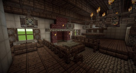 medieval tavern interior minecraft fireplace church map wooden project fort planetminecraft russian diamonds