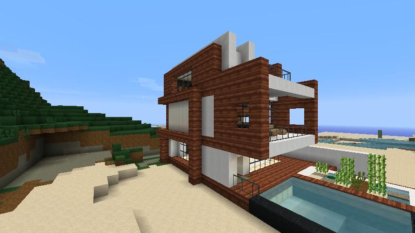 Small Modern Beach House Schematic Minecraft Project