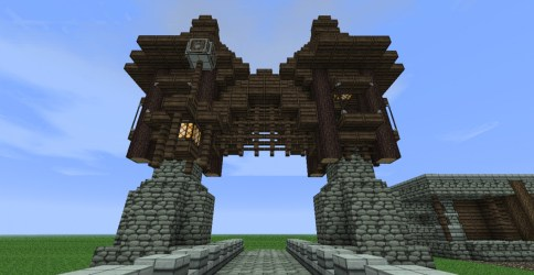 minecraft medieval gate simple build quick project planetminecraft