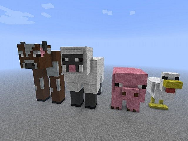 Giant Mob Statues Made Of Only Wool Minecraft Project