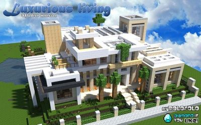 modern mansion minecraft living luxurious luxury wok monday designs mansions houses villa casa planetminecraft vid cool map material boys goes
