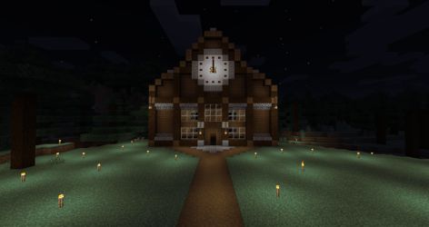 Simple Town hall / Courthouse building + Clock [1 15 2