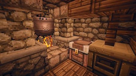 medieval homestead minecraft fireplace cooking inside terrain custom cauldron map