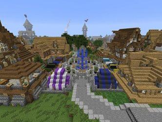 fantasy medieval market square minecraft