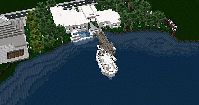 Modern Riverfront Infinity Pool Bayview Heights Minecraft Project
