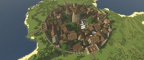 medieval minecraft walled town layout village castle blueprints fortified mc microrealms map kingdom rp ring designs above 1333 planetminecraft discover