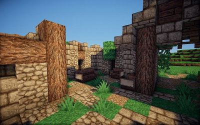 medieval hall town entrance minecraft