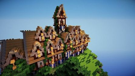 hall town medieval minecraft steampunky project