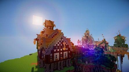 hall town medieval minecraft steampunky