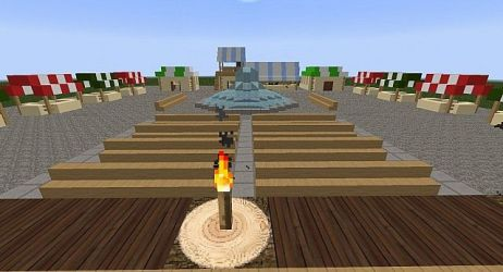 medieval town square market gallows minecraft