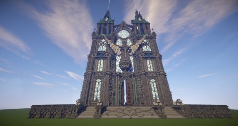cathedral prismarine minecraft church blueprints building map planetminecraft built diamonds