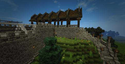 castle medieval fantasy greenstone courtyard walkway minecraft boathouse