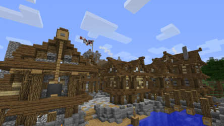 town medieval minecraft hall dock working nice