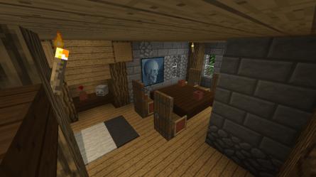 spruce medieval room dining minecraft