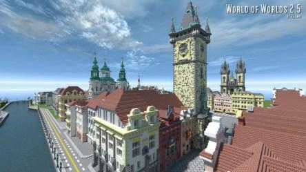 prague town square czech minecraft map astronomical clock above