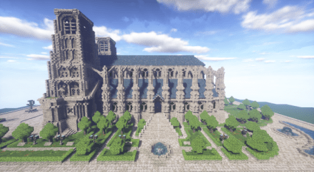 minecraft cathedral gothic map gardens mods left side
