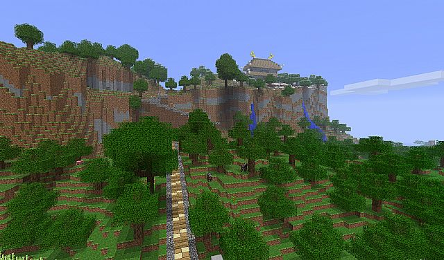 Pagoda over the water and Mountain Temple Minecraft Project