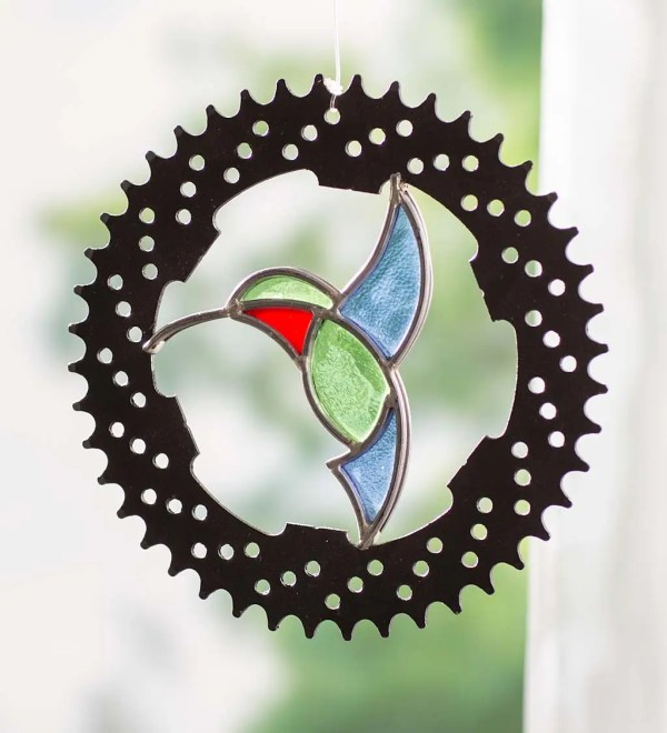 Stained Glass Hummingbird In Bicycle Chainring