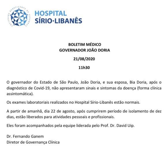 João e Bia Doria estão curados da covid-19 | Poder360