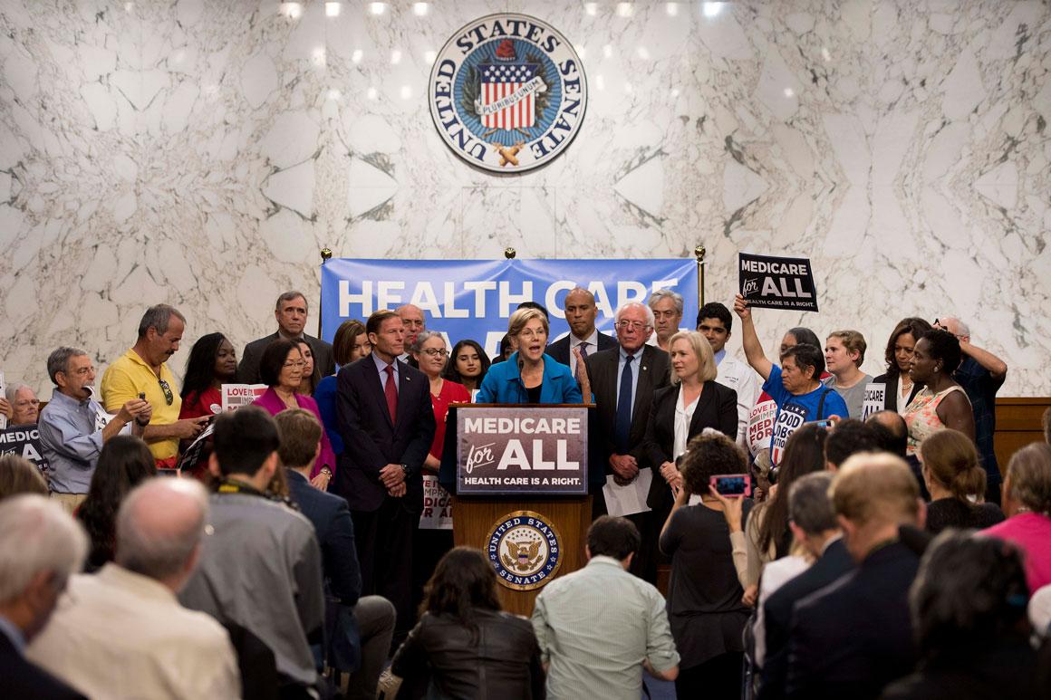 Elizabeth Warren, surrounded by Democrats, speaks to a crowd