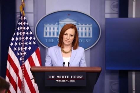 White House press secretary Jen Psaki speaks during a daily press briefing at the James Brady Press Briefing Room of the White House on May 21.