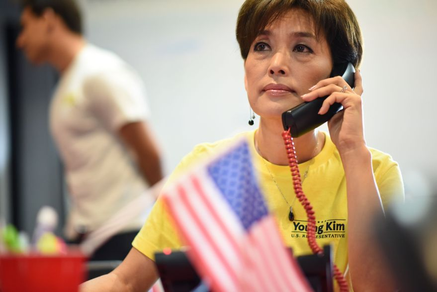 Young Kim is pictured at her campaign office in Yorba Lina, California.