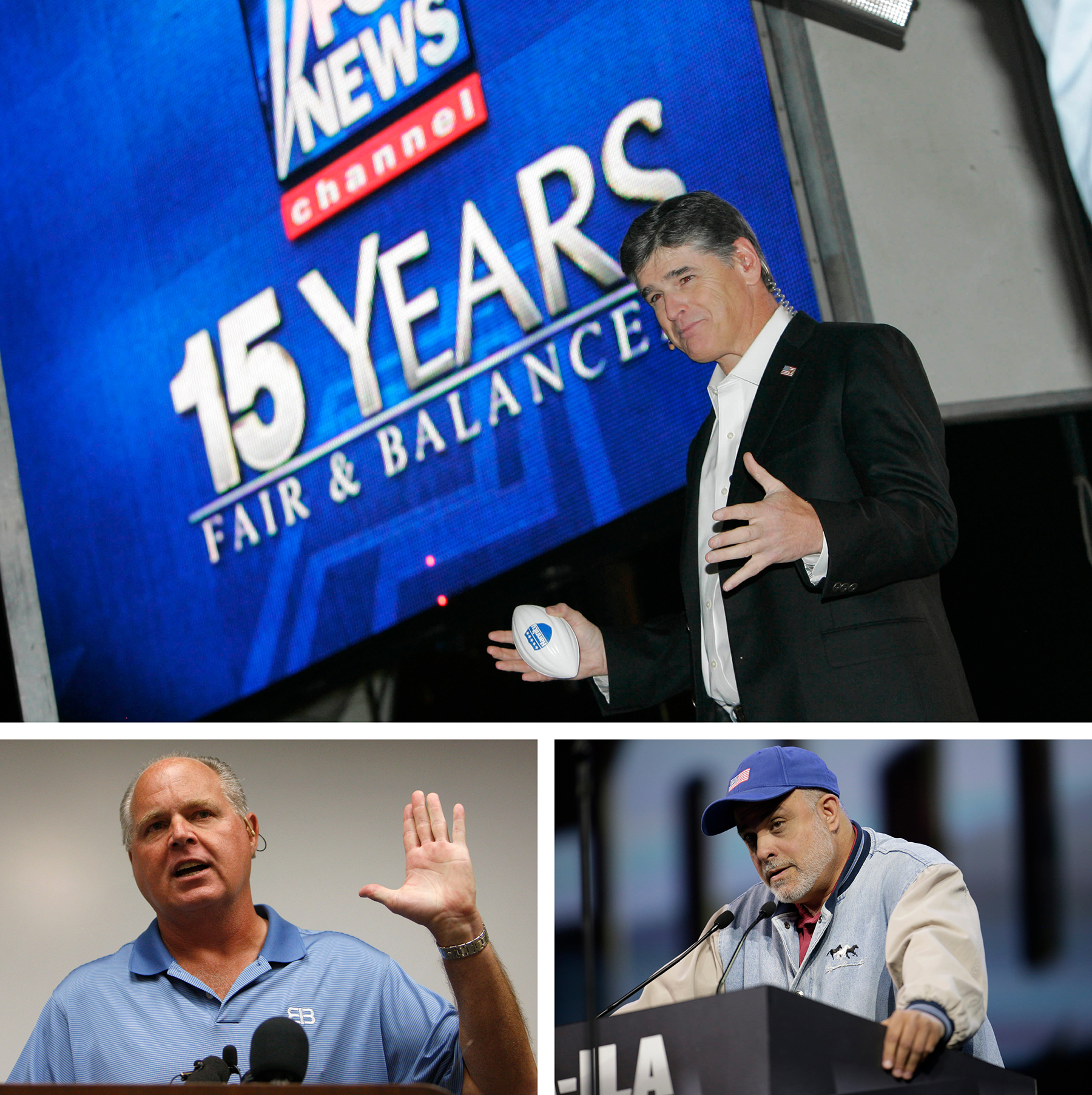 Photos of Sean Hannity, Rush Limbaugh and Mark Levin