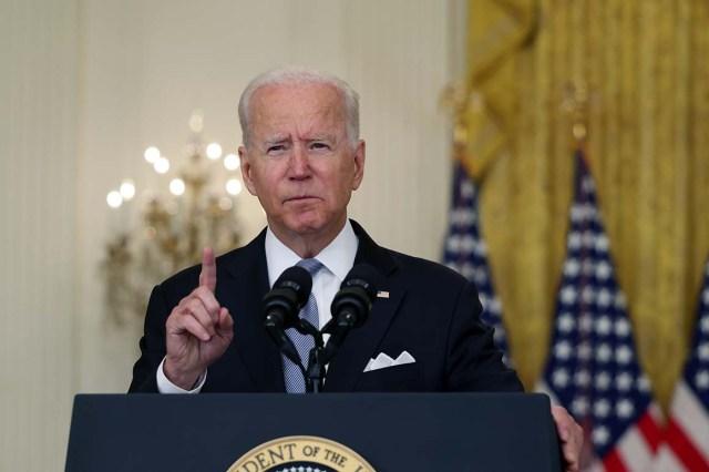 President Joe Biden delivers remarks.