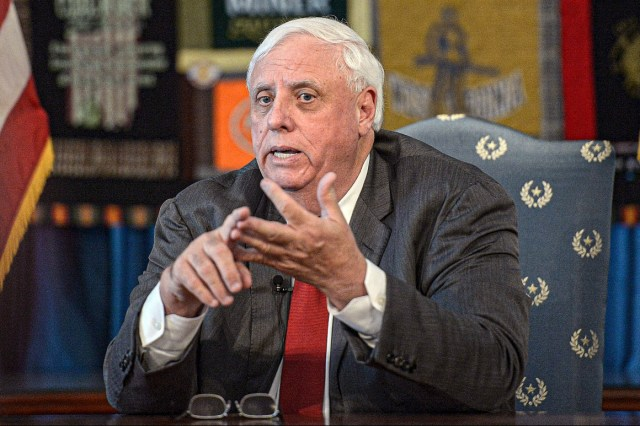 In this March 12, 2020, file photo, West Virginia Gov. Jim Justice speaks during a news conference about vaccination.