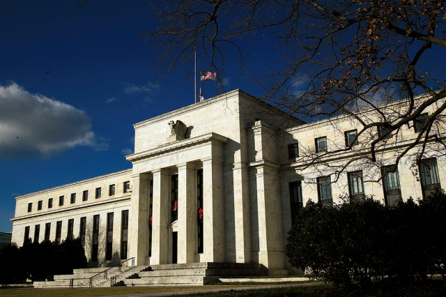 The Federal Reserve building is seen.