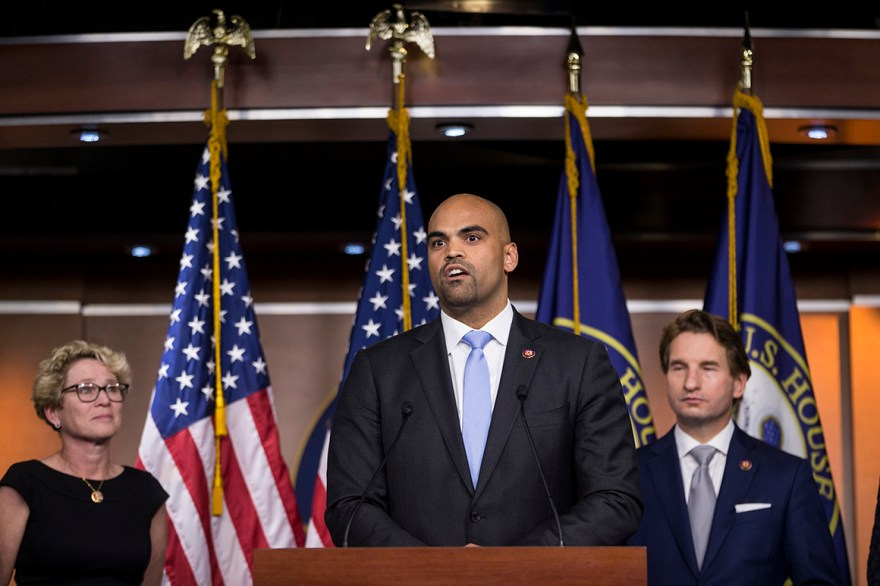Rep. Colin Allred speaks during news conference.