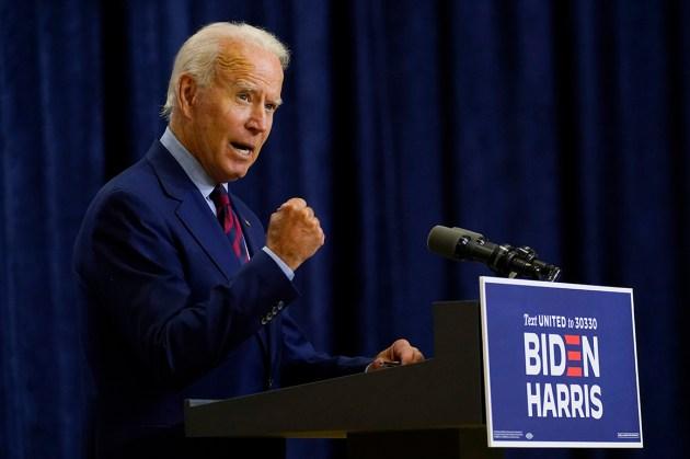 Cory Gardner Democratic presidential candidate former Vice President Joe Biden speaks Sept. 4 in Wilmington, Del. | AP Photo
