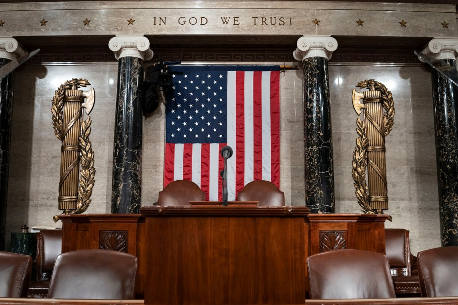 The chamber of the House of Representatives is seen at the Capitol in Washington, Monday, Feb. 3, 2020, as it is prepared for President Donald Trump to give his State of the Union address Tuesday night. .