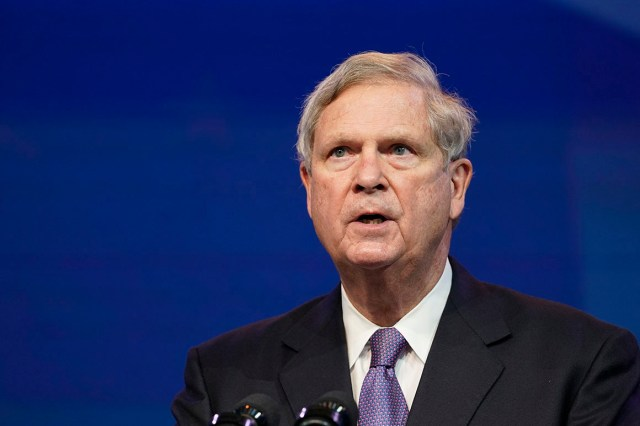 Tom Vilsack speaks during an event at The Queen theater in Delaware.