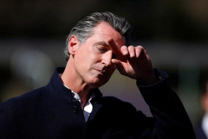 California Gov. Gavin Newsom pauses.