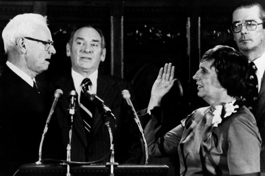 Ella T. Grasso is sworn in.