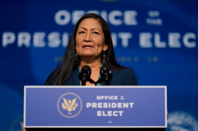 The Biden administration's nominee for Secretary of Interior, Rep. Deb Haaland, speaks at The Queen Theater in Wilmington, Del.