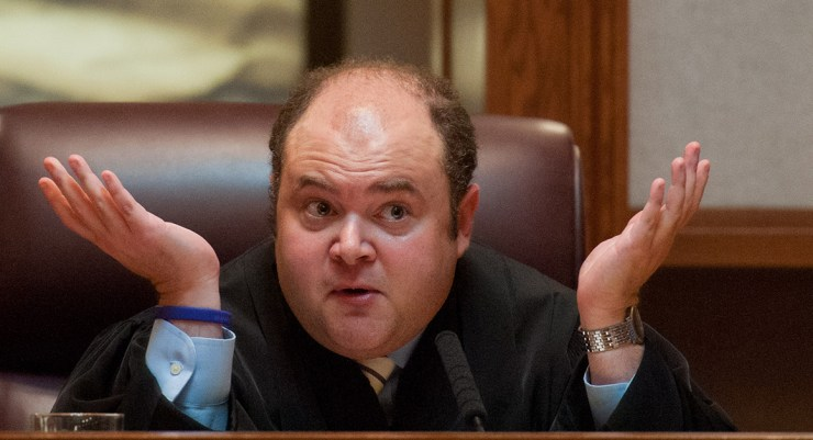 Minnesota Supreme Court Justice David Stras questions attorneys.