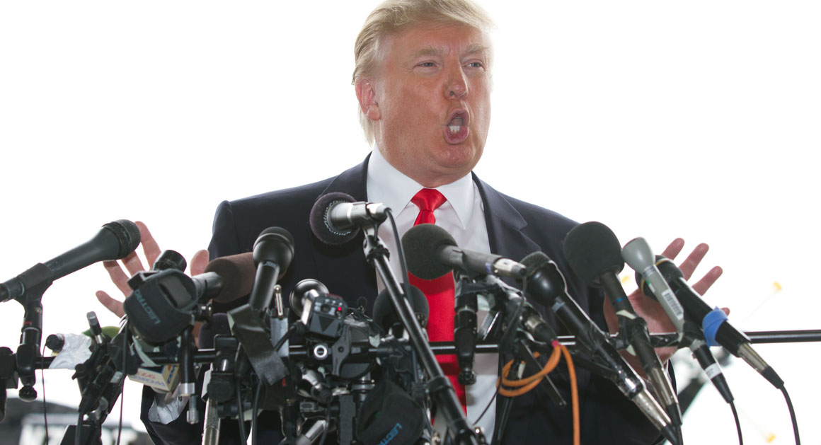 Donald Trump speaks to the media at Pease International Trade Port in Portsmouth, N.H., on April 27, 2011, about the release of President Barack Obama's release original birth certificate.