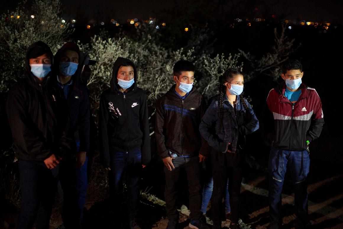 Minors, mostly from Guatemala, wait at a U.S. Border Patrol intake site at Roma, Texas.