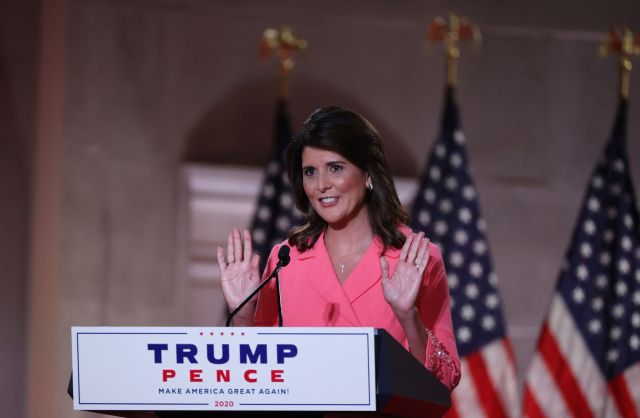 Former U.S. Ambassador to the United Nations Nikki Haley stands on stage in an empty Mellon Auditorium while addressing the Republican National Convention at the Mellon Auditorium on August 24, 2020 in Washington, DC.