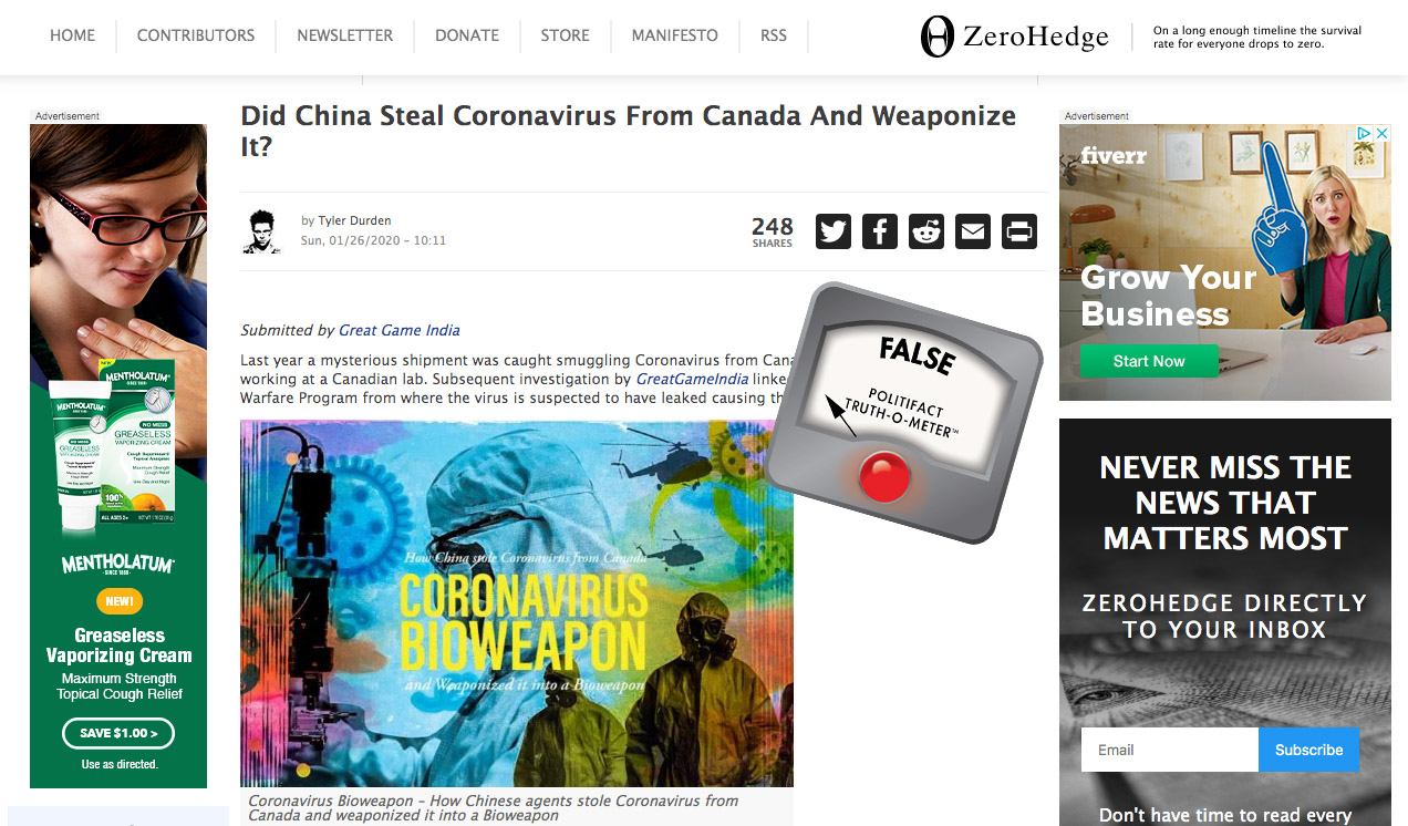 PolitiFact | Websites spin unproven link between Canada, China ...