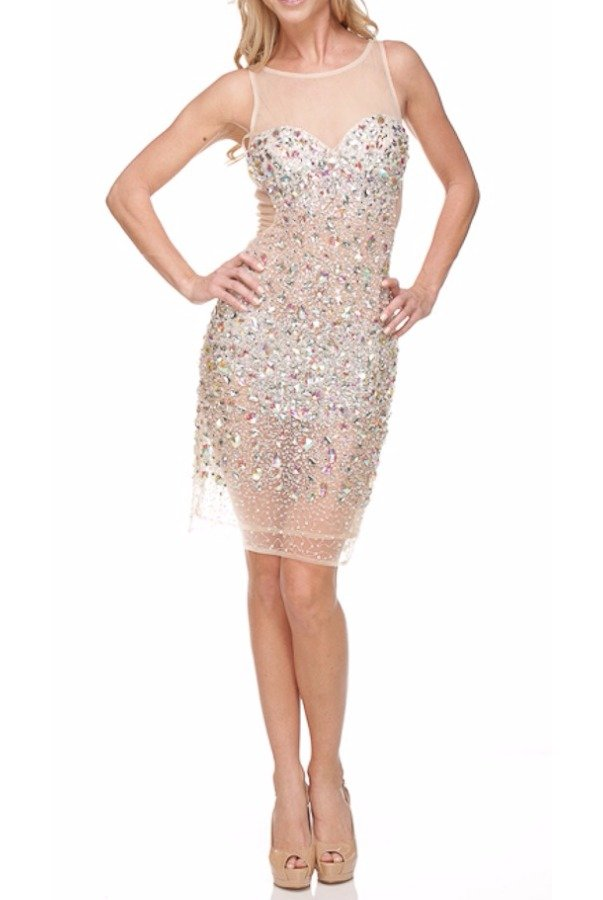 TERANI Fully Encrusted Crystal Silver Nude Mini Dress