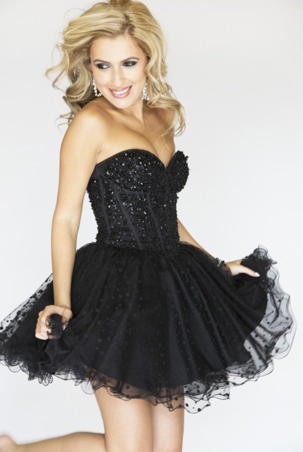 SHERRI HILL 2750 Black Sequined Short Party Dress