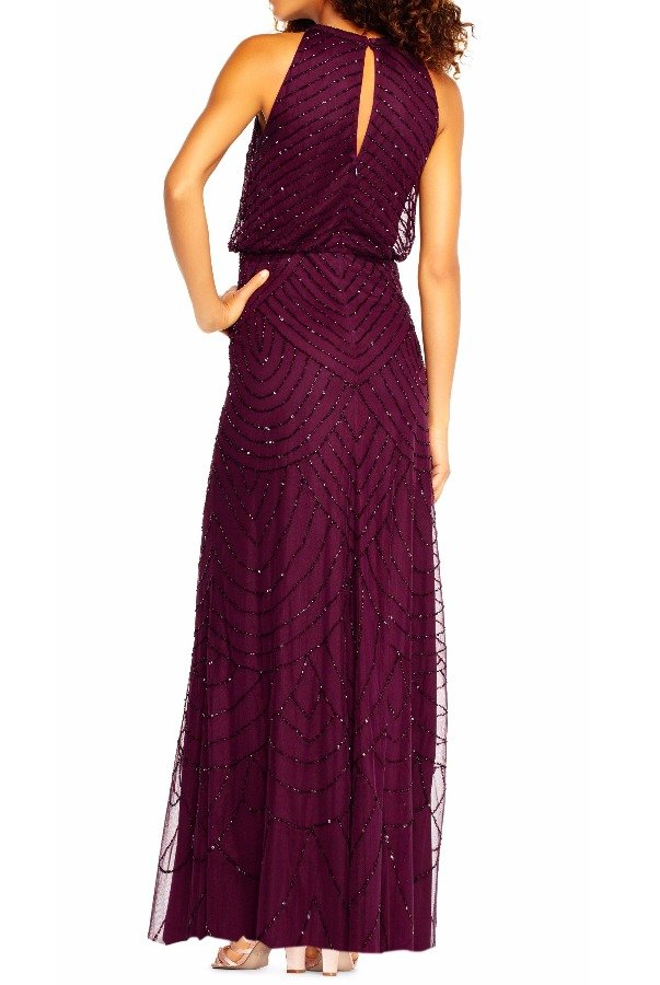 Adrianna Papell Art Deco Beaded Halter top Gown Cassis Purple  Poshare