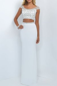 Blush Embellished Two Piece White Prom Dress Formal Gown ...