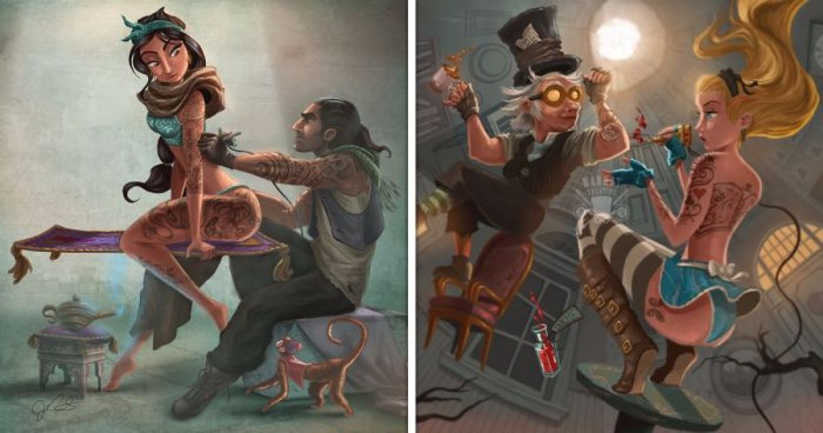 Wallpaper Removal Post Falls 7 Super Badass Illustrations Of Disney Princesses Getting
