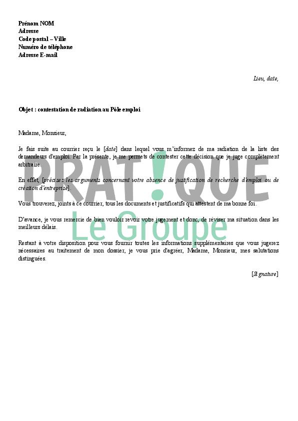 modele lettre de radiation