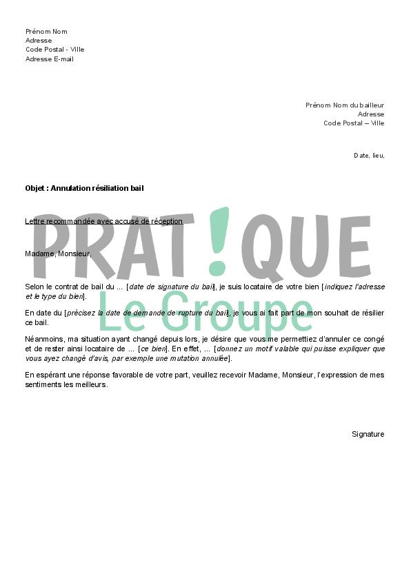 lettre de resiliation de bail location