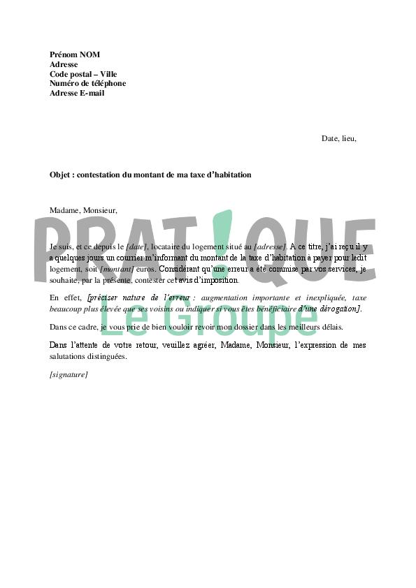 Lettre de contestation du montant de la taxe dhabitation  Pratiquefr